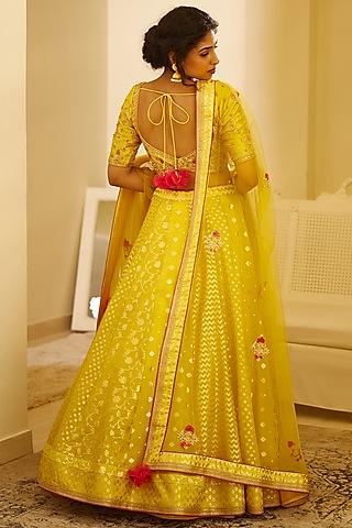 Mustard Yellow Embroidered Lehenga Set by Shyam Narayan Prasad