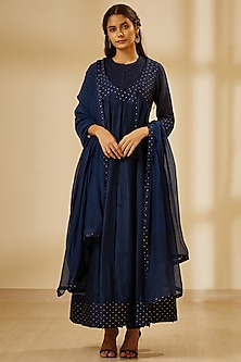Navy Blue Embroidered Angrakha Kurta Set by Shyam Narayan Prasad