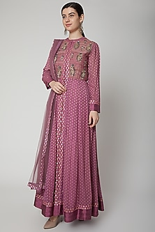 Mauve Embroidered Anarkali Set by Shyam Narayan Prasad