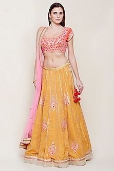Yellow & Pink Embroidered Lehenga Set by Shyam Narayan Prasad