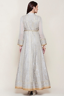 Grey Embroidered Anarkali Set by Shyam Narayan Prasad
