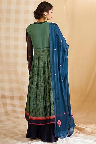 Teal Green Embroidered & Block Printed Kurta Set by Shyam Narayan Prasad