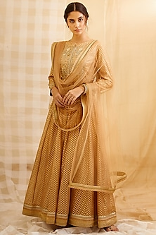 Gold Embroidered Anarkali Set by Shyam Narayan Prasad