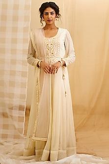 Off White Embroidered Anarkali Set by Shyam Narayan Prasad