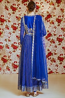 Royal Blue Embroidered Kurta Set by Shyam Narayan Prasad