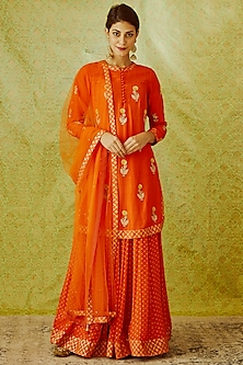 Orange Embroidered & Printed Kurta Set by Shyam Narayan Prasad