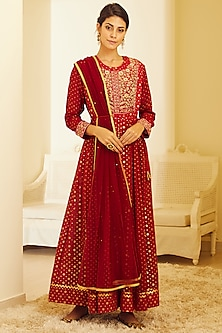 Maroon Embroidered Anarkali Set by Shyam Narayan Prasad
