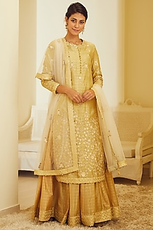 Gold Beige Embroidered Kurta Set by Shyam Narayan Prasad