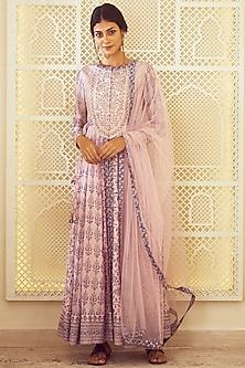 Light Pink Printed & Embroidered Anarkali Set by Shyam Narayan Prasad