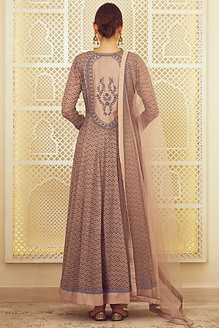 Light Neutral Pink Printed & Embroidered Anarkali Set by Shyam Narayan Prasad