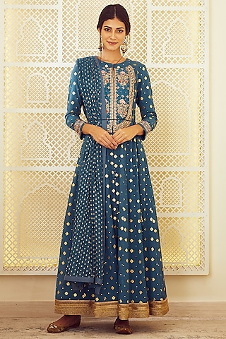 Teal Blue Embroidered Anarkali Set by Shyam Narayan Prasad