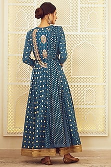 Teal Blue Embroidered Anarkali Set by Shyam Narayan Prasad