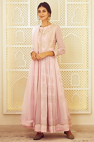 Light Pink Embroidered & Printed Anarkali Set by Shyam Narayan Prasad