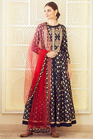 Navy Blue & Red Thread Embroidered Anarkali Set by Shyam Narayan Prasad