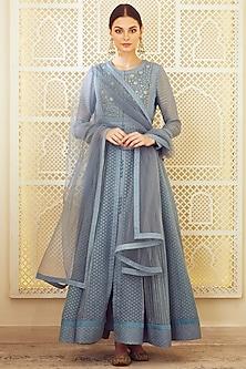 Blue Grey Embroidered Anarkali Set by Shyam Narayan Prasad