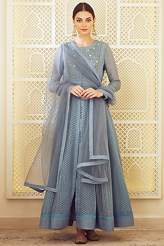 Blue Grey Embroidered Anarkali Set by Shyam Narayan Prasad