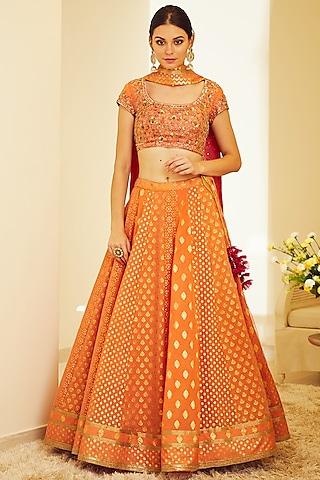 Orange Embroidered Brocade Lehenga Set by Shyam Narayan Prasad