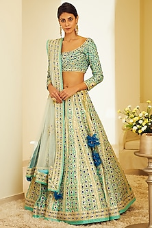 Blue Embroidered Lehenga Set by Shyam Narayan Prasad