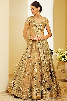 Olive Green Appliques Embroidered Lehenga Set by Shyam Narayan Prasad