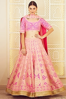 Pink Thread Embroidered Lehenga Set by Shyam Narayan Prasad
