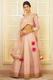 Light Pink Thread Embroidered Lehenga Set by Shyam Narayan Prasad