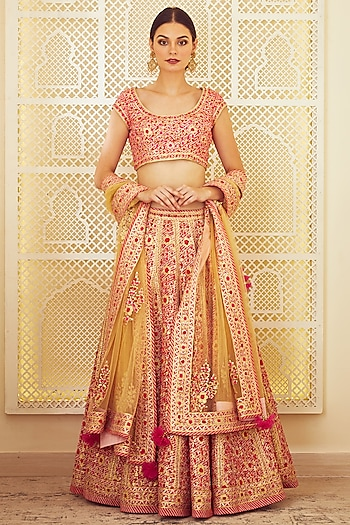 Pink Embroidered Lehenga Set by Shyam Narayan Prasad