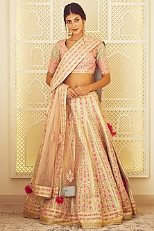 Light Blue & Pink Embroidered Lehenga Set by Shyam Narayan Prasad