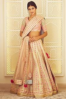 Light Blue & Pink Embroidered Lehenga Set by Shyam Narayan Prasad