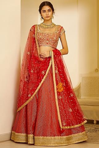 Red Embroidered Lehenga Set by Shyam Narayan Prasad