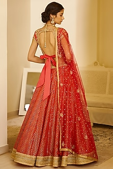 Red Embroidered Lehenga Set by Shyam Narayan Prasad