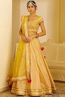 Beige Gota Embroidered Lehenga Set by Shyam Narayan Prasad