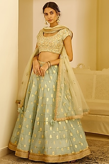 Sea Green Zardosi Embroidered Lehenga Set by Shyam Narayan Prasad