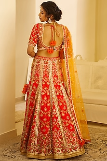 Red Gota Embroidered Lehenga Set by Shyam Narayan Prasad