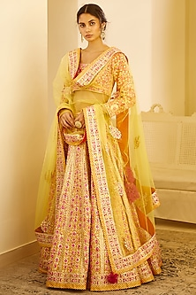Multi Colored Zardosi Embroidered Lehenga Set by Shyam Narayan Prasad