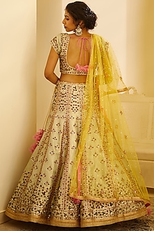 Sea Green Thread Embroidered Lehenga Set by Shyam Narayan Prasad