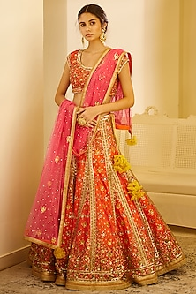 Coral Zardosi Embroidered Lehenga Set by Shyam Narayan Prasad