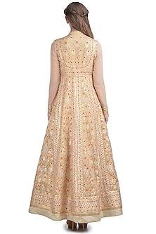 Light Brown Thread Embroidered Kurta Set by Shyam Narayan Prasad
