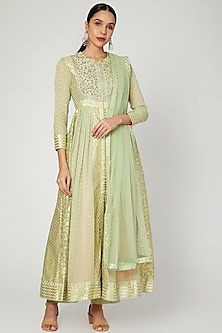 Light Green Embroidered Anarkali Set by Shyam Narayan Prasad