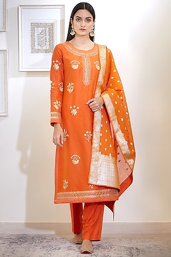 Rust Orange Embroidered Kurta Set by Shyam Narayan Prasad