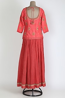 Coral Pink Embroidered Skirt Set by Shyam Narayan Prasad