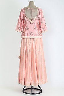 Peach Embroidered Skirt Set by Shyam Narayan Prasad