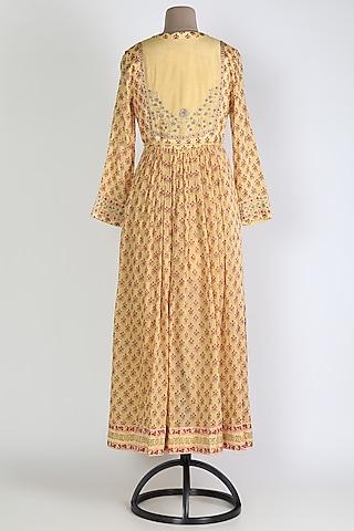 Yellow Printed & Embroidered Anarkali Set by Shyam Narayan Prasad