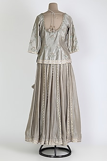Grey Embroidered Skirt Set by Shyam Narayan Prasad