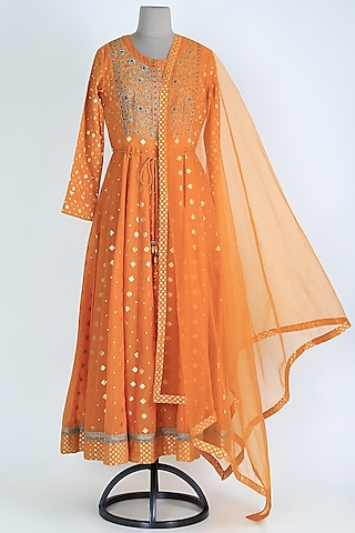 Orange Embroidered Anarkali Set by Shyam Narayan Prasad