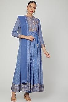 Light Blue Dori Embroidered Anarkali Set by Shyam Narayan Prasad