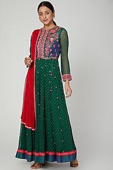 Bottle Green Thread Embroidered Anarkali Set by Shyam Narayan Prasad
