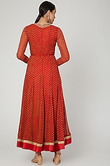 Red Zardozi Embroidered Anarkali Set by Shyam Narayan Prasad