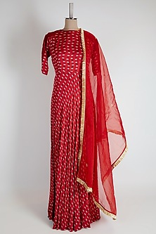 Red Printed Anarkali Set by Suave by Neha & Shreya