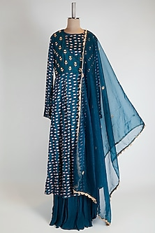 Blue Printed & Embroidered Anarkali Set by Suave by Neha & Shreya