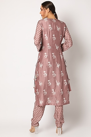 Blush Pink Embroidered & Printed Kurta Set by Suave by Neha & Shreya